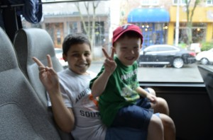 Tayne and his buddy Kaiser on the bus